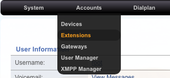 FusionPBX Add Extensions